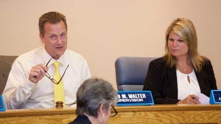 Riverhead Town Supervisor Sean Walter, left, is shown