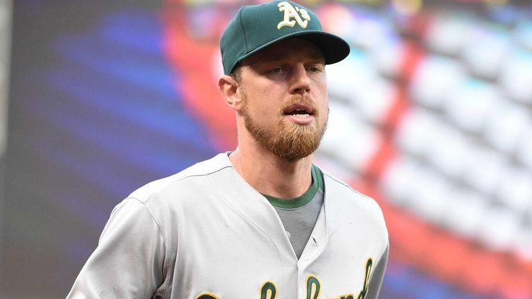 Oakland Athletics leftfielder Ben Zobrist looks on from