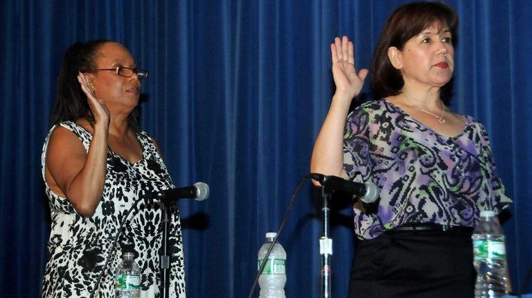 From left: Hempstead school board trustees Gwendolyn Jackson