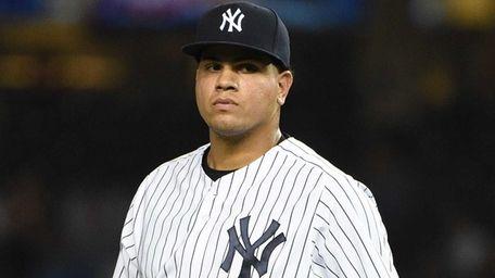 New York Yankees relief pitcher Dellin Betances looks