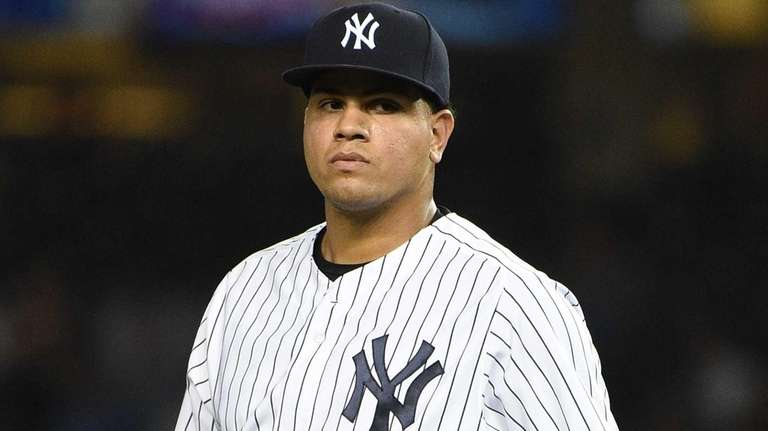 New York Yankees relief pitcher Dellin Betances looks