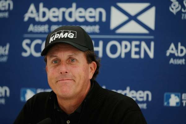 Phil Mickelson is interviewed during a press conference