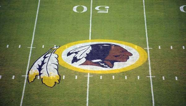 The Washington Redskins logo is seen on the