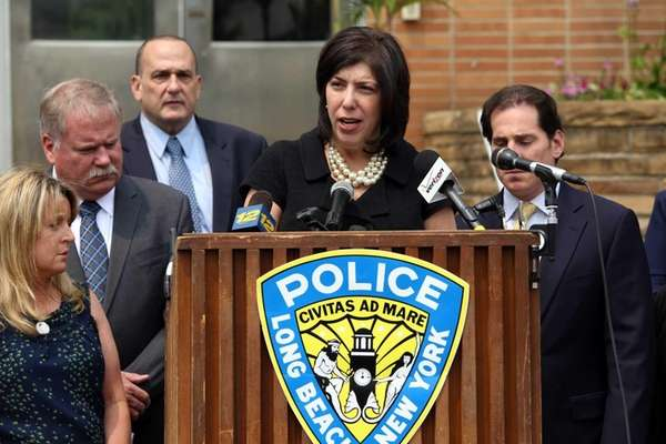 Madeline Singas, acting Nassau County district attorney, announces