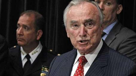 NYPD Police Commissioner William Bratton speaks to the
