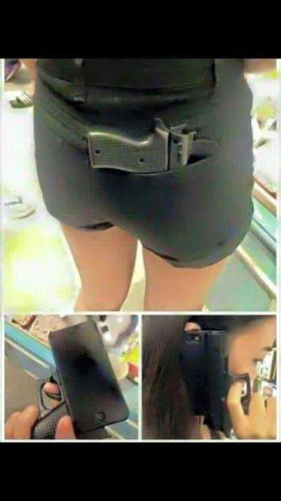 A cellphone case shaped like a gun.