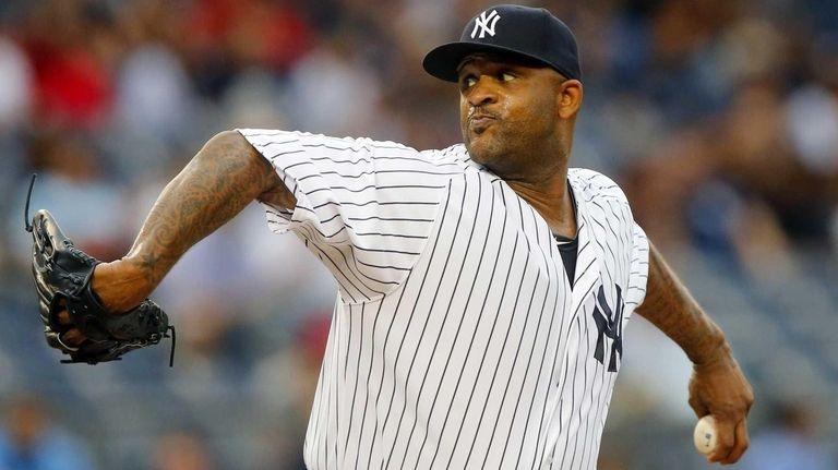 CC Sabathia of the New York Yankees pitches