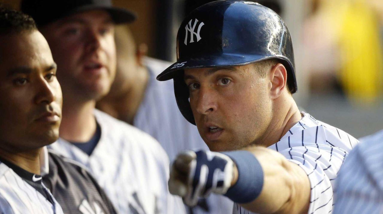 Mark Teixeira of the New York Yankees celebrates