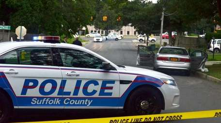 Suffolk County police at the scene on Wednesday,