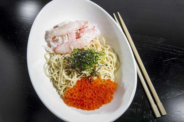 Crab-and-salmon roe ramen is a chilled dish at