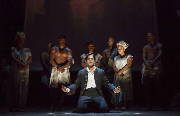 Josh Young, center, in the Nederlander Theatre's production