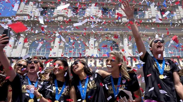 Members of the World Cup champion U.S. Women's