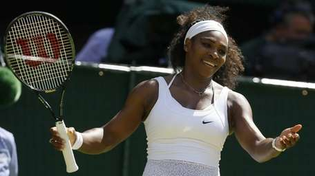 Serena Williams of the United States gestures between