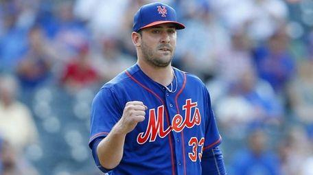 Matt Harvey of the Mets pumps his fist