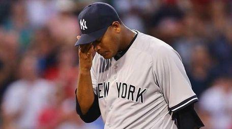 Ivan Nova of the New York Yankees reacts
