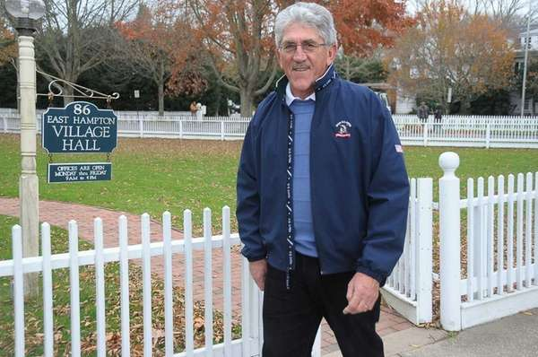 Supervisor Larry Cantwell in front of East Hampton
