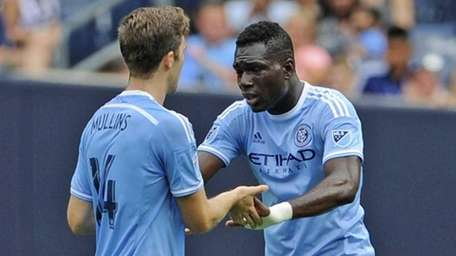 New York City FC forward Patrick Mullins (14)