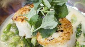 Pan-seared diver sea scallops are served with sauteed