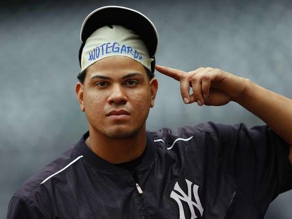 Dellin Betances of the New York Yankees displays