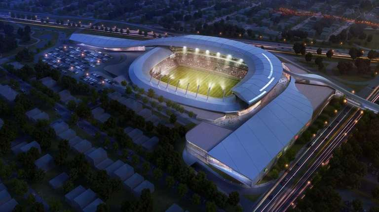 A rendering of a proposed stadium for the