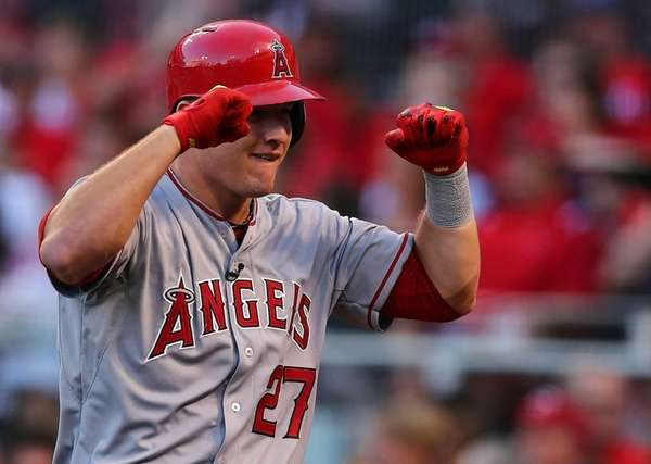 American League All-Star Mike Trout #27 of the
