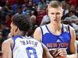 The Knicks' Kristaps Porzingis, right, plays against the