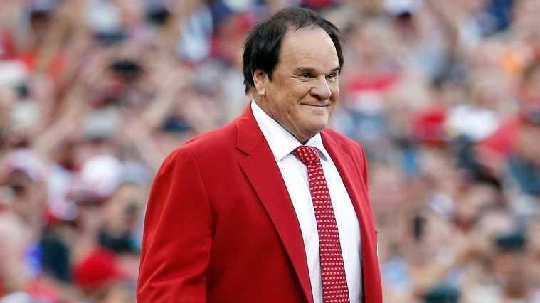Former player and manager Pete Rose looks on