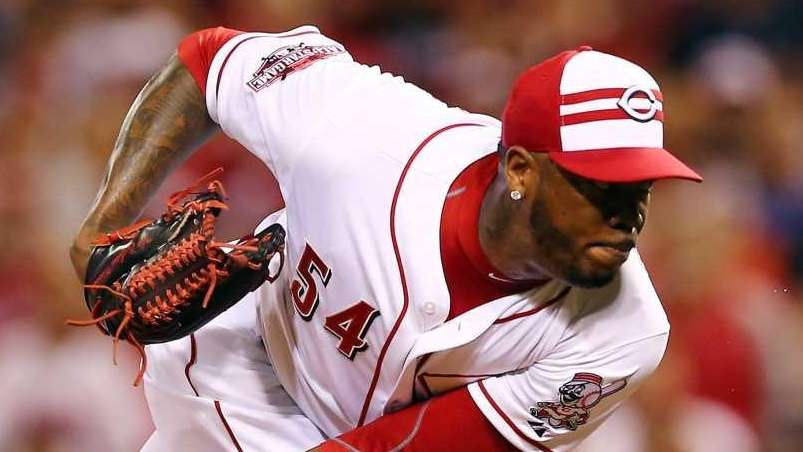 Aroldis Chapman of the Cincinnati Reds throws a