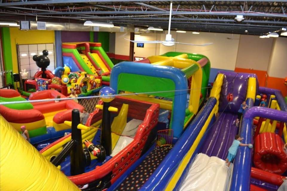 Check out the 20-foot-high, brightly colored slide, and