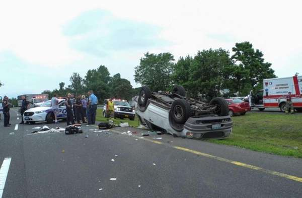 Suffolk County respond to an accident on Nicolls