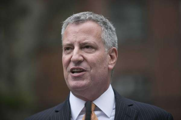 New York Mayor Bill de Blasio appears at