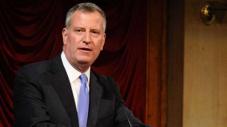 New York City Mayor Bill de Blasio speaks