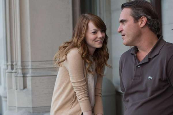 Emma Stone and Joaquin Phoenix in a scene