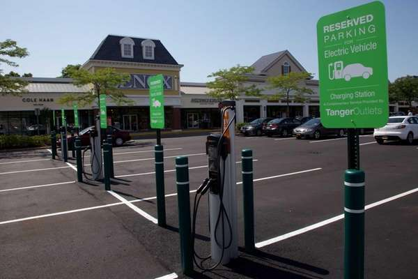 Electric charging stations at the Tanger Outlets in