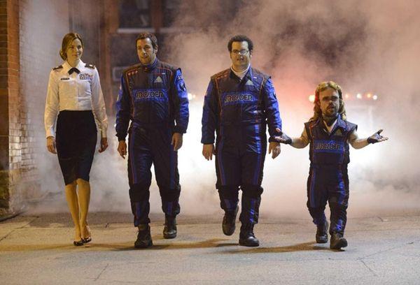 From left, Michelle Monaghan, Adam Sandler, Josh Gad
