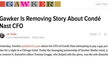 A screenshot of the post explaining why Gawker
