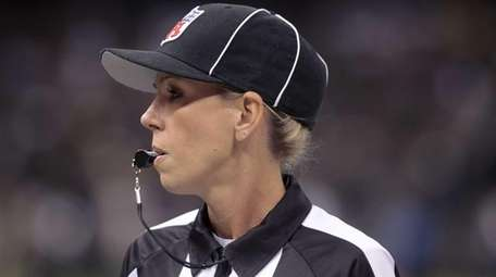 NFL referee Sarah Thomas is shown before a