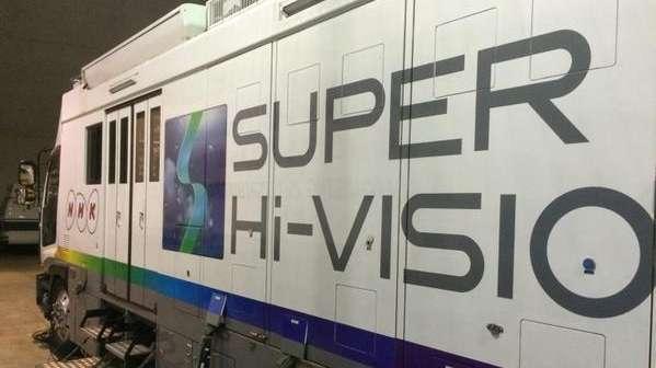 A truck broadcasting NHK's 8K Super-Hi-Vision is seen