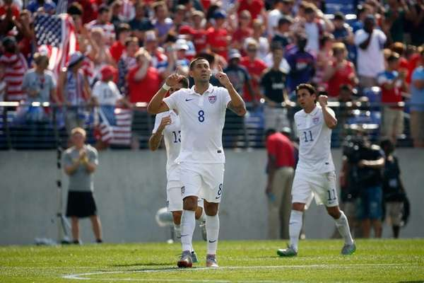 Clint Dempsey of the U.S. celebrates after scoring