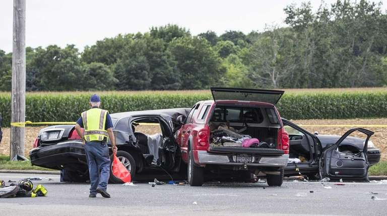 The scene on Route 48 and Depot Road