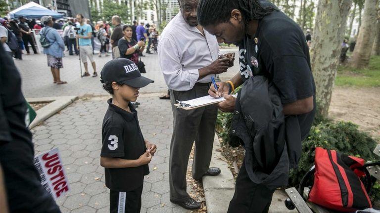 Cameron Hunt, 7, of Harlem gets City Councilman
