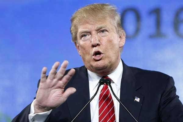 Republican presidential candidate Donald Trump speaks at
