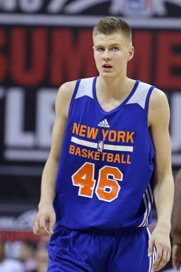 New York Knicks' Kristaps Porzingis plays in an