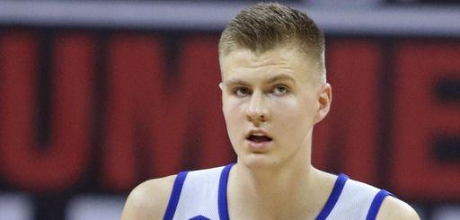 New York Knicks' Kristaps Porzingis plays in an