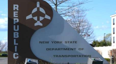 The sign for Republic Airport in Farmingdale on