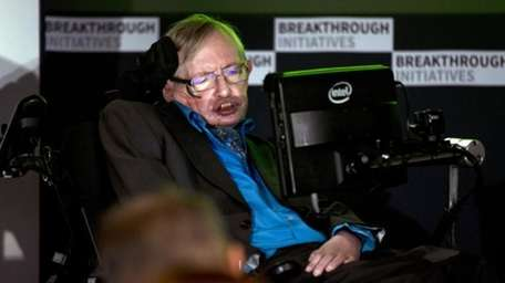 Renowned physicist Stephen Hawking attends a press conference