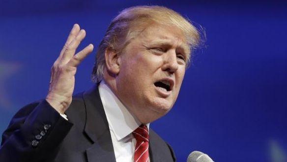 Republican presidential hopeful Donald Trump speaks at the