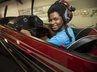 Myles Jackson, 12, a future pilot from Wheatley