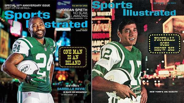 Sport Illustrated covers of Jets cornerback Darrelle Revis,