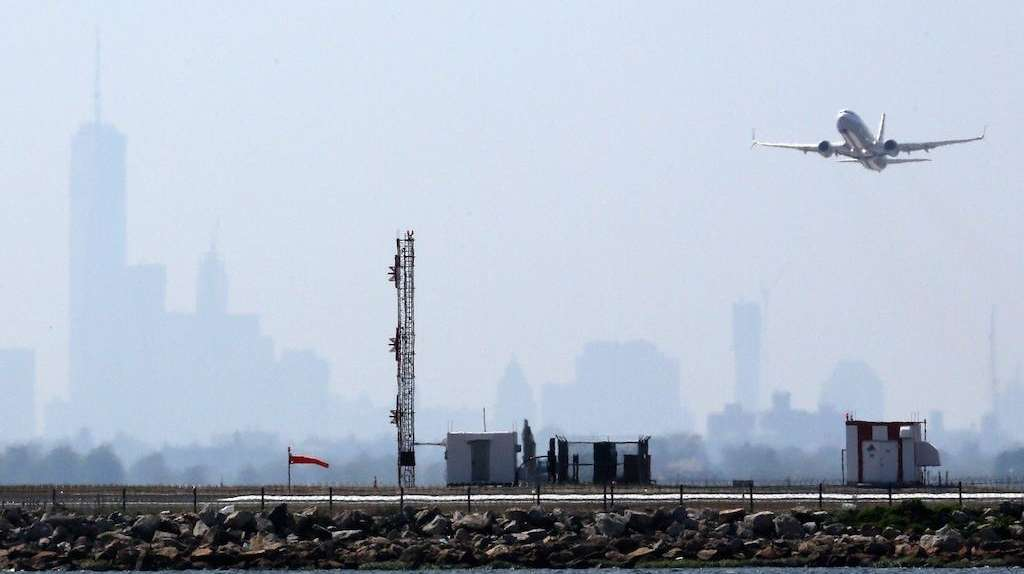 An aircraft takes off from New York's John